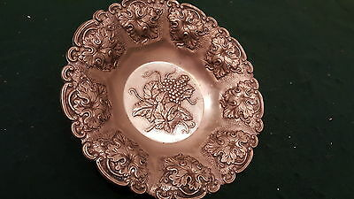 Vintage Decorative Greek Grape Vines & Bunches Embosseb In Metal Tin Alloy See!!