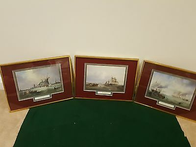 Lot Of 3 James John Wilson Carmichael Framed Nautical Ship Painting Print See !!