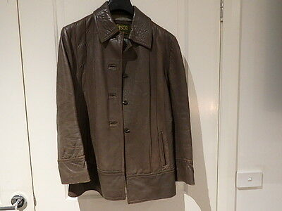 Vintage Sz 16 Ladies Female  Brown Leather Jacket + Herringbone ? Lined Style +