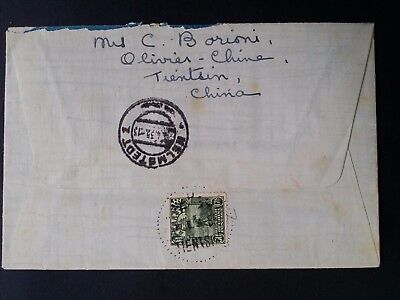 VERY RARE 1935 China Registd Cover ties 50c green Reaper stamp canc Tientsin