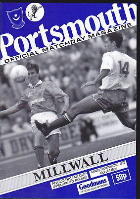 1992/93 PORTSMOUTH V MILLWALL 29-09-1992 Anglo-Italian Cup Preliminary Round