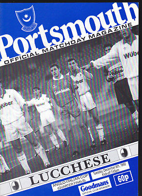 1992/93 PORTSMOUTH V LUCCHESE 08-12-1992 Anglo-Italian Cup Quarter-Final