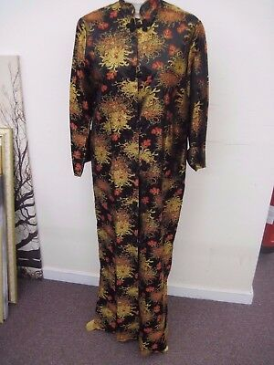 Japanese Kimono.Full Length.Medium.Black/Gold/Red Floral.Red Lined