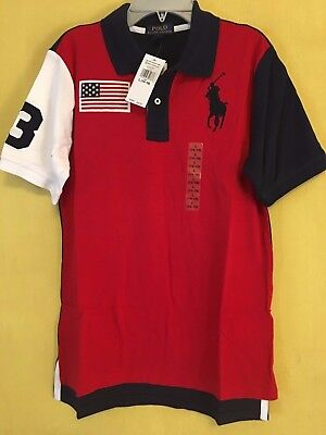 NEW POLO RALPH LAUREN Boys Big Pony #3 Polo Americana Shirt Navy Red/Blue/White
