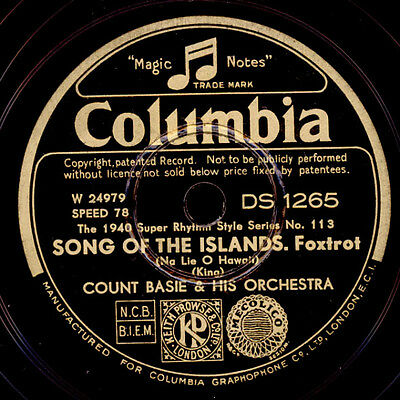 COUNT BASIE & HIS ORCHESTRA  Song of the islands / Nobody knows    78rpm  X1788