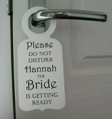 2 Door Hanger Signs Do Not Disturb Bride Groom Getting Ready Wedding Day Multi