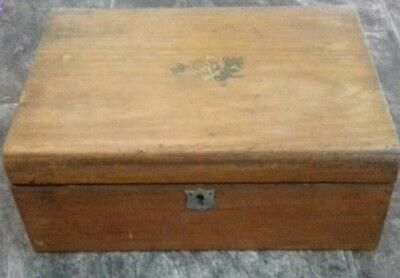 Antique wooden jewellery sewing writing box with hand painted rose