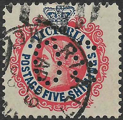 VICTORIA 1901-10 POSTAGE 5/- Red & Blue PERFIN O S ACSC 95 attractive fine used