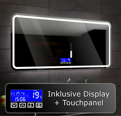 Illuminated Led bathroom mirror To Measure MADRID + LCD TOUCH Control Panel