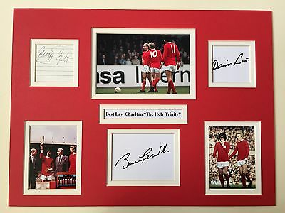 """Manchester United George Best,Denis Law,Bobby Charlton Signed 16"""" X 12"""" Display"""