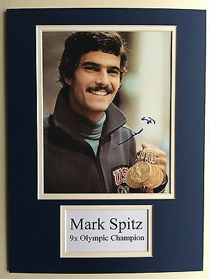 "Swimming Mark Spitz Signed 16"" X 12"" Double Mounted Display"