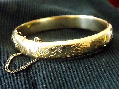 Vintage 9ct ROLLED GOLD Hinged Bangle with Safety Chain 11.5g - NO RESERVE