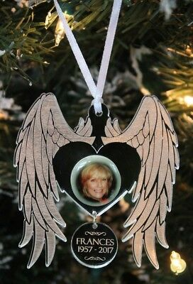 Photo Personalised ANGEL WINGS Memorial Christmas Tree Decoration & Gift Bag