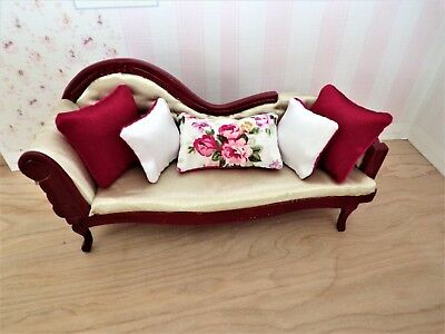 12th scale dolls house cushions Handmade Red silky satin/floral