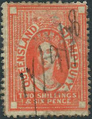 QUEENSLAND 1871-72 POSTAL FISCAL Wmk Crown/Q 2/6 Orange ACSC F13 cv$200 fu mss