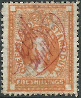 QUEENSLAND 1871-72 POSTAL FISCAL Wmk Crown/Q 5/- Brown p12 ACSC F14 cv$225 mss