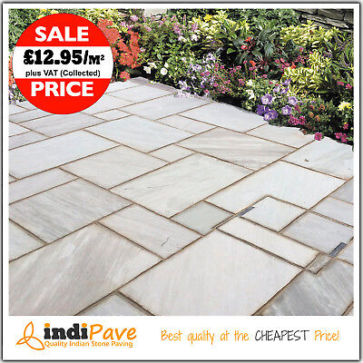 Calibrated Kandla Grey Silver Indian sandstone Natural paving patio slabs flags