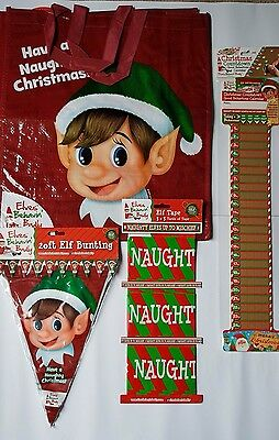 Elves Behavin' Badly Bunting, Banners, Bag and Scratch Off Advent Calendar