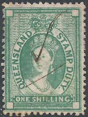 QUEENSLAND 1871-72 POSTAL FISCAL Wmk Crown/Q 1/- Green ACSC F11 cv$100 fu mss