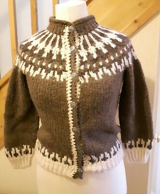 Hand knit Scottish pure wool Icelandic style cardigan size 12/14