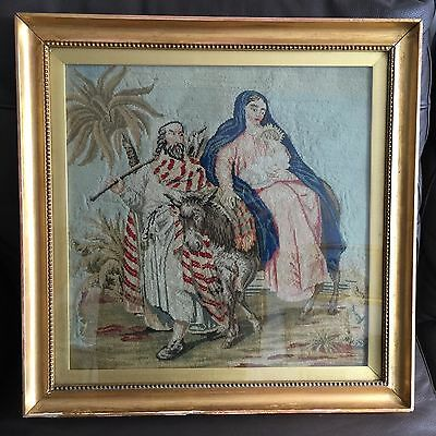 """Antique 18"""" Square Framed Original English Victorian Tapestry """"Jesus & Mary"""""""