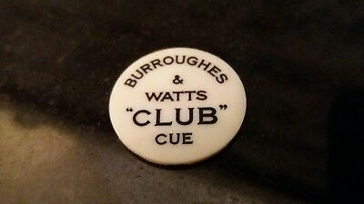 Rare Cue Name Plate Made By Burroughes & Watts  The Club Cue 100% Original