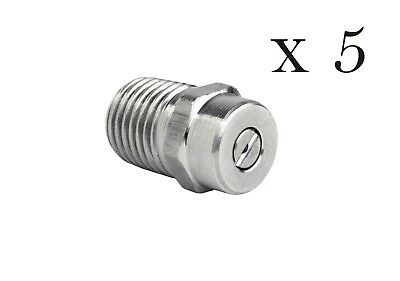"Pressure Washer  Stainless Steel Spray Nozzle 1/4"" Five Pack 40° Sizes 2-10"