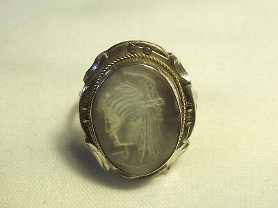 Vintage 800 Grade Silver & Mother Of Pearl Cameo Ring L½