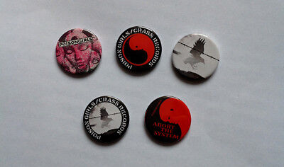 Five NEW Reproduction Poison Girls Badges Punk Crass  [25mm 1inch]
