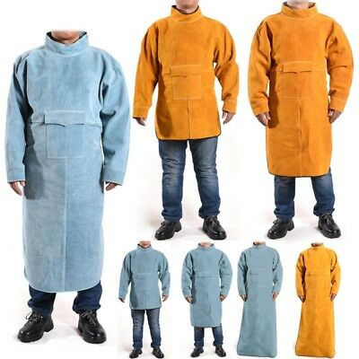 Welding Apron Cowhide Leather Coat Heat-resistant Welder Protective Work Clothes