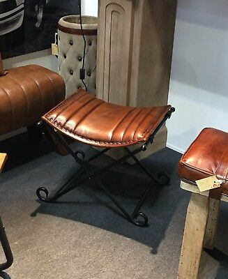 Genuine Brown Cowhide Leather Iron Folding French Vintage Stool Seat Chair Gift