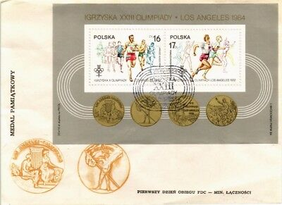 Dr Jim Stamps Los Angeles Olympic Games Fdc Souvenir Sheet Poland Cover 1984