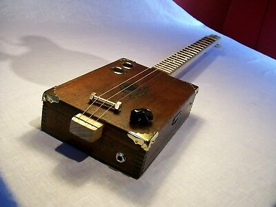 Cigar Box Guitar Vintage Corona 3 String Fretted Acoustic/Electric LISTEN BELOW