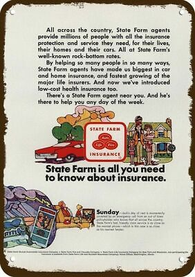 1968 STATE FARM INSURANCE Vintage Look Replica Metal Sign - ALL YOU NEED TO KNOW