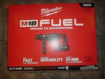 """Factory Sealed New Milwaukee M18 FUEL 1-9/16"""" SDS Max Hammer Drill Kit 2717-21HD"""