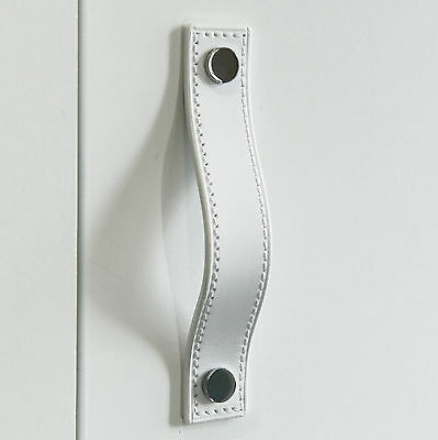 Stitched White Leather Door/Drawer Pull, Cupboard Handle