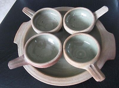 A Rare Five Piece Egg Baking Set. 1960's Leach, St Ives Standard Ware Pottery