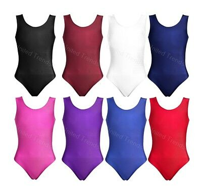 New Girls School Uniform Leotard Dance Gymnastics Ballet Sleeveless Leotards