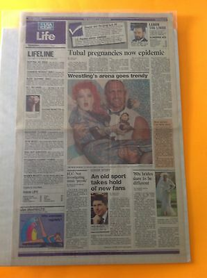 Uncommon CYNDI LAUPER Hulk Hogan USA TODAY Newspaper Life Section From 1985
