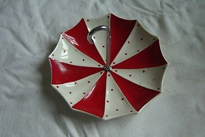"""Midwinter """"modern"""" 1950S Red And White Polka Dot Umbrella Cake Stand"""