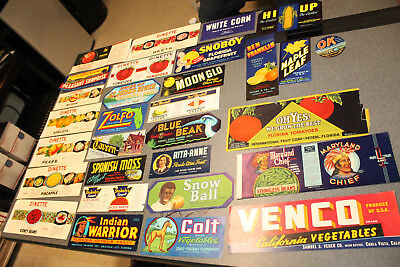 Lot of 30 Vintage Original Assorted Fruit Vegetable Labels Lot 9