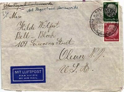 Dr Jim Stamps Airmail Mylau Nazi Germany Dual Franked Back Censor Cover 1940