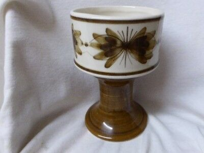 Jersey Pottery from Jersey Channel Islands Goblet Shaped Vase Brown flowers
