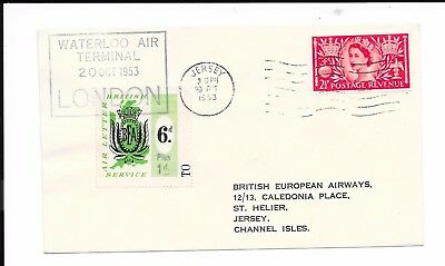 GB JERSEY 1953 6d BEA COVER