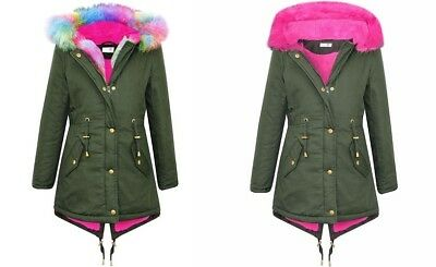 NEW Girls Kids Rainbow Pink Fur Parka Winter Jacket Coat Age 4 5 6 9 10 11 12 13