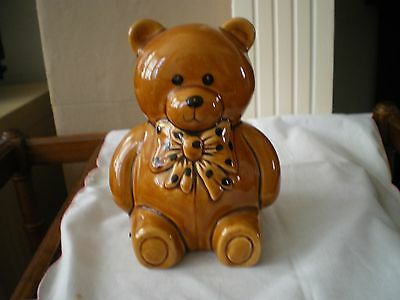 Lovely Condition. Babbacombe Devon Pottery Teddy Money Box.  Spotted Bow. Cute