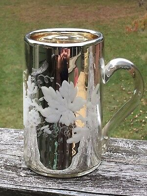 RARE Antique Mercury Glass Tankard Mug Gold Int Etched Floral