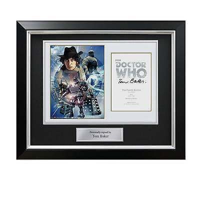 Tom Baker Signed Dr Who Poster In Deluxe Black Frame With Silver Inlay