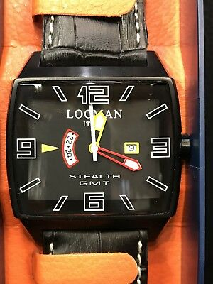 Watch Locman Stealth GMT Ref 300 Steel Black Leather Discounted New