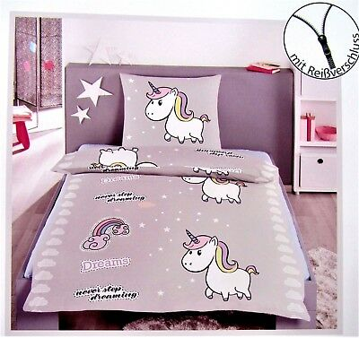 bettw sche einhorn 135x200 2 tlg bettw schegarnitur kinder bettw sche neu grau eur 19 95. Black Bedroom Furniture Sets. Home Design Ideas